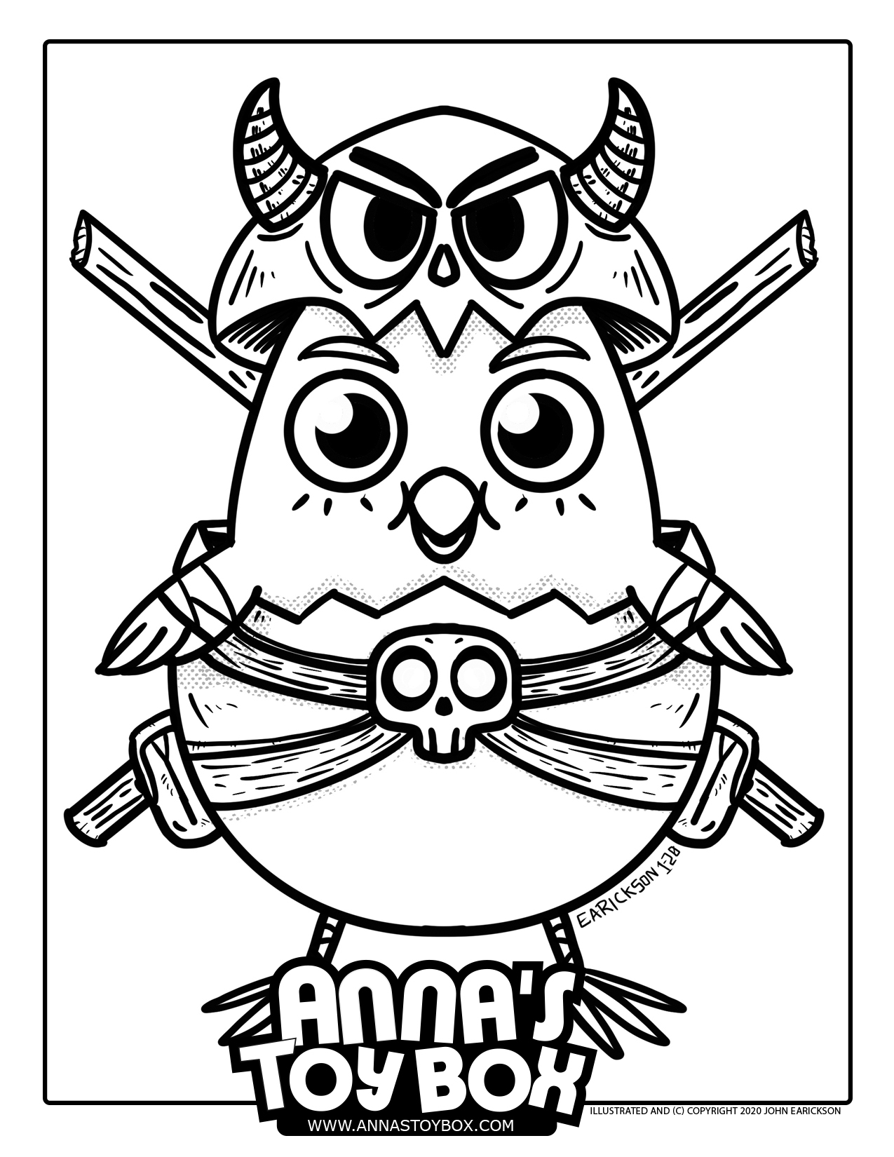 Warrior Chicken Coloring Page